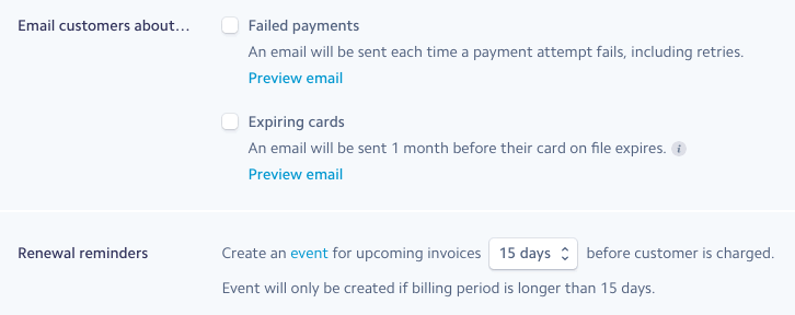 Stripe Billing email options